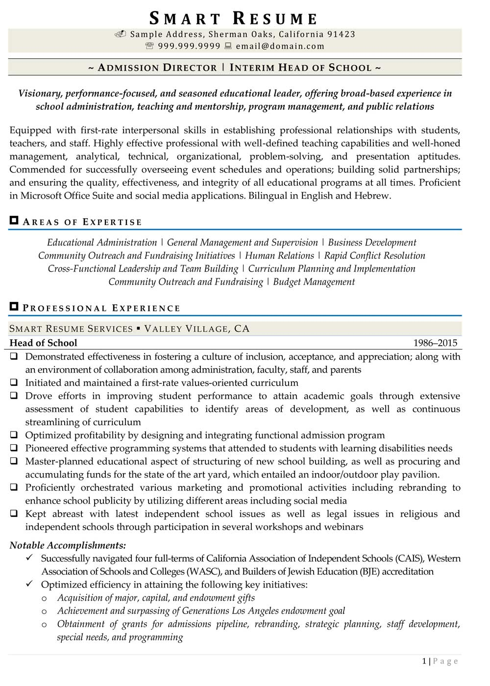 Resume for director of admissions