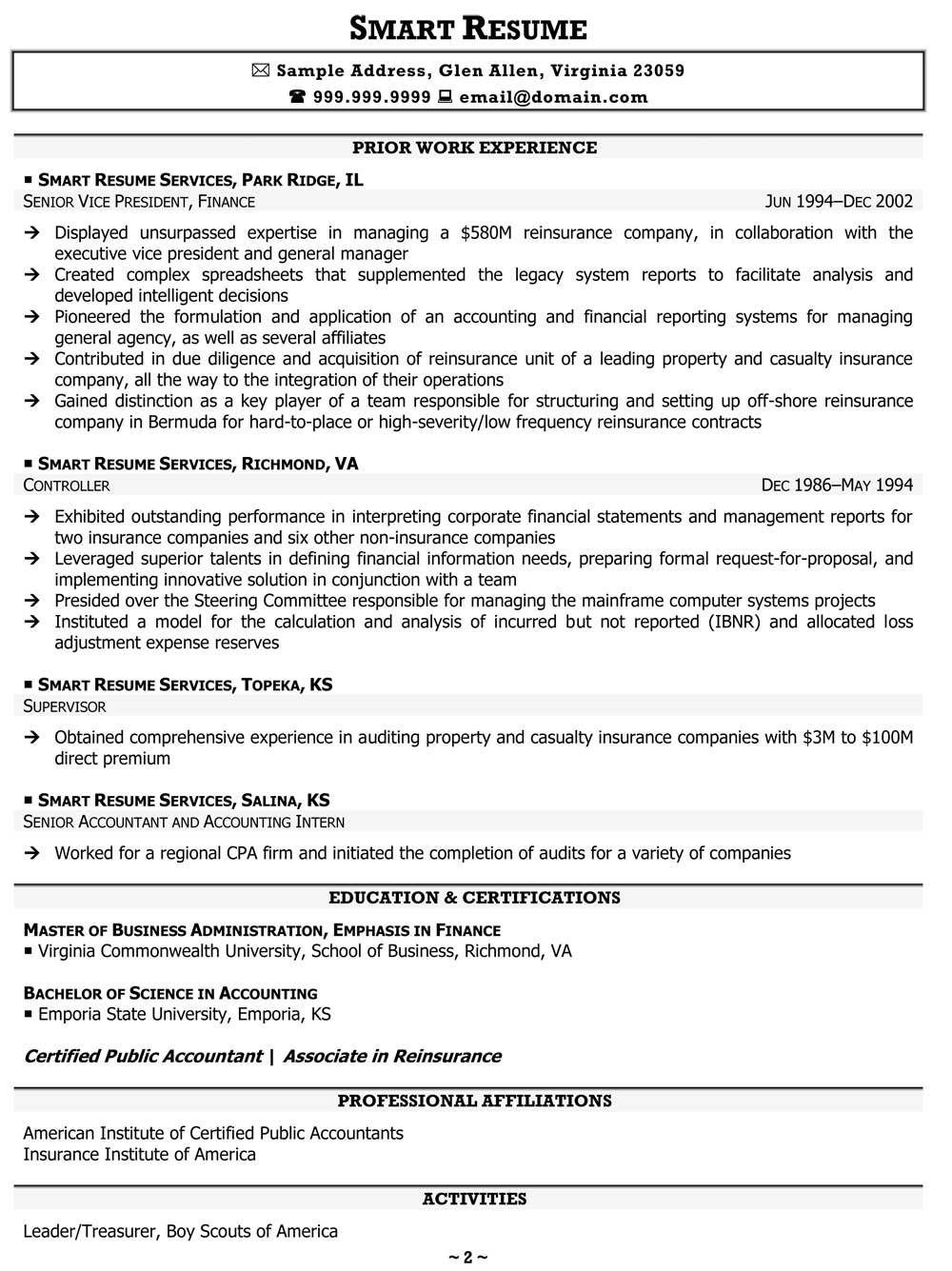 Correction Officer Resume Chief Financial Sample
