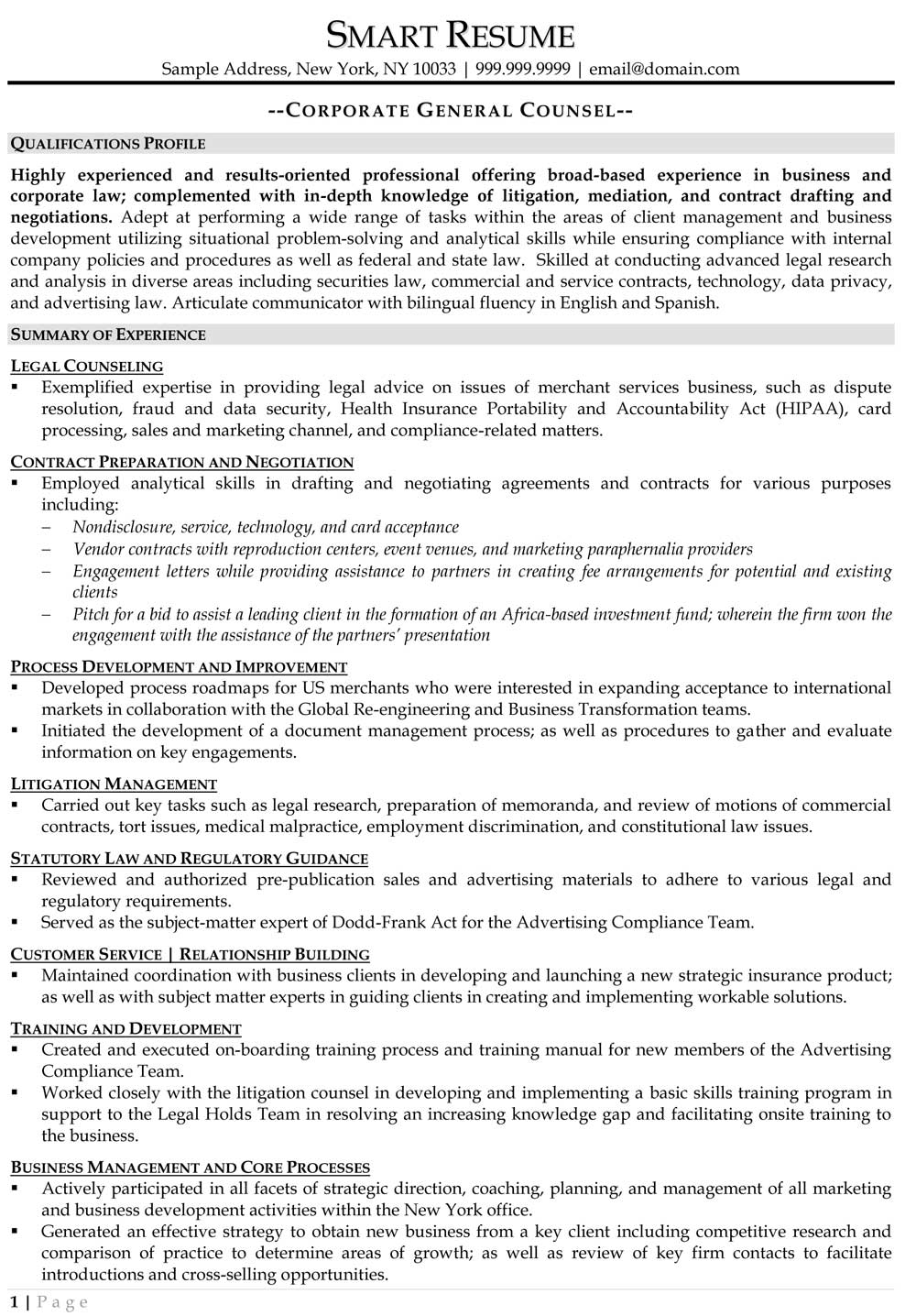 Corporate Communications Manager Resume Sample General Counsel