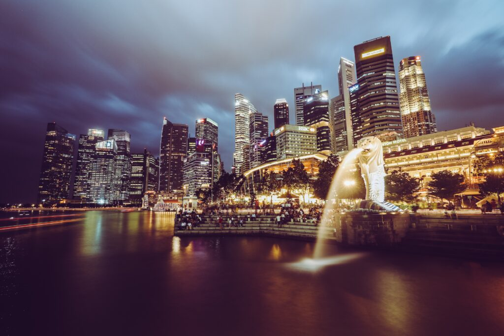 buildings in Singapore with the merlion statue