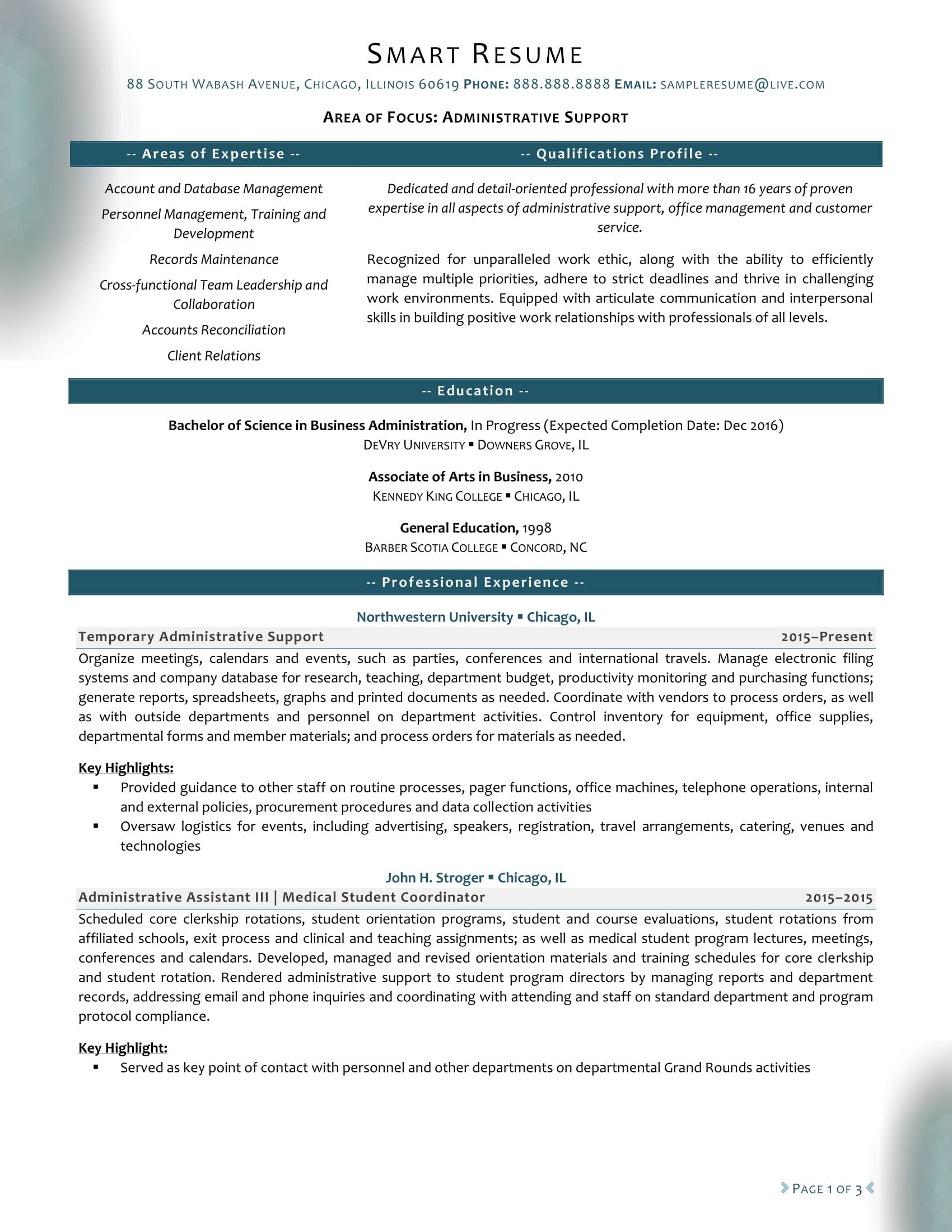 Administrative Support Resume Sample