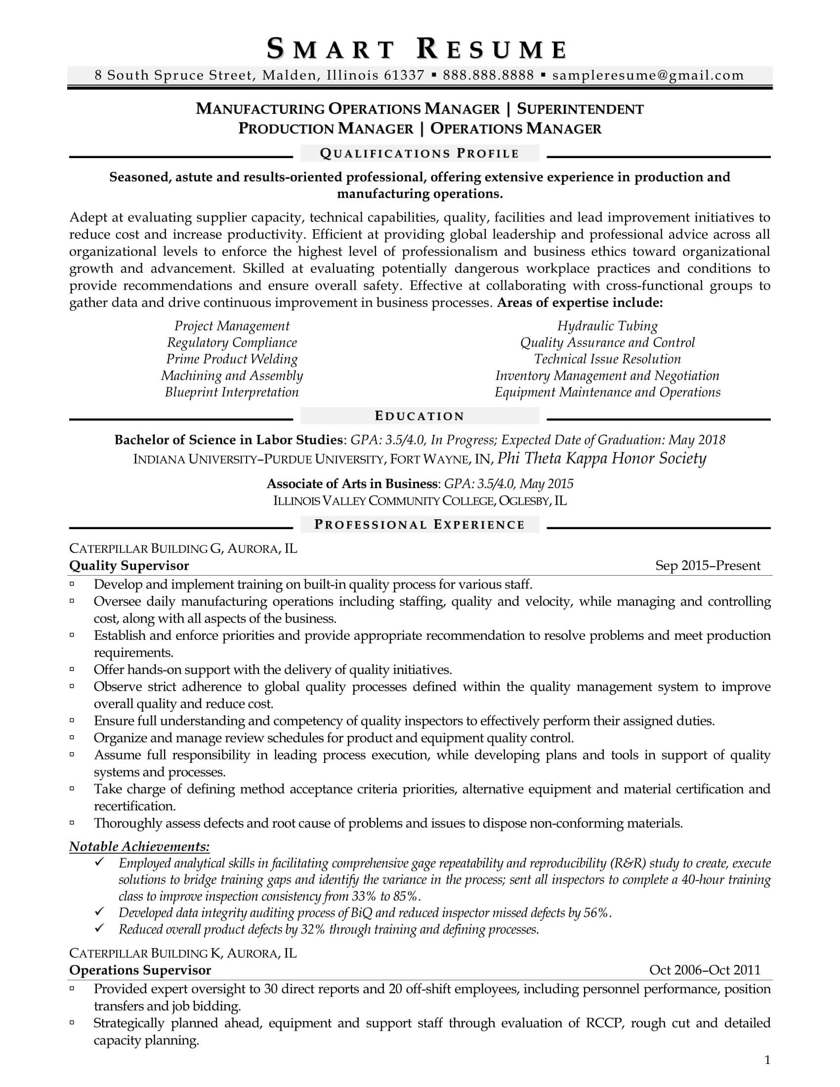 Manufacturing Operations Manager Resume Sample